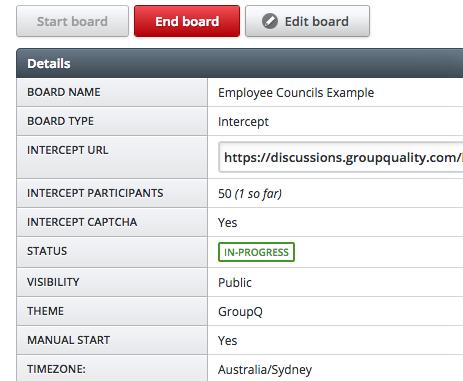 Agile online discussion board dashboard