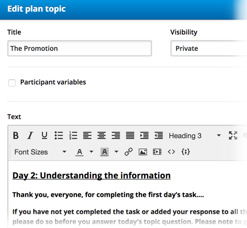 Online discussion board insights topic creation